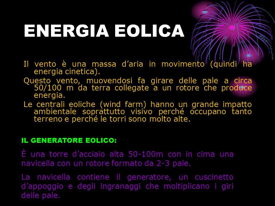 ENERGIA EOLICA Il vento è una massa d'aria in movimento (quindi ha energia cinetica).