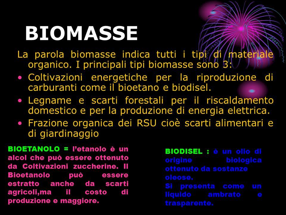 BIOMASSE La parola biomasse indica tutti i tipi di materiale organico. I principali tipi biomasse sono 3: