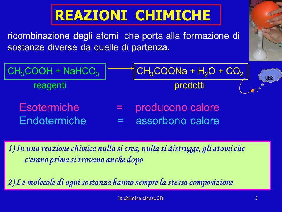 REAZIONI CHIMICHE ricombinazione degli atomi che porta alla formazione di sostanze diverse da quelle di partenza.