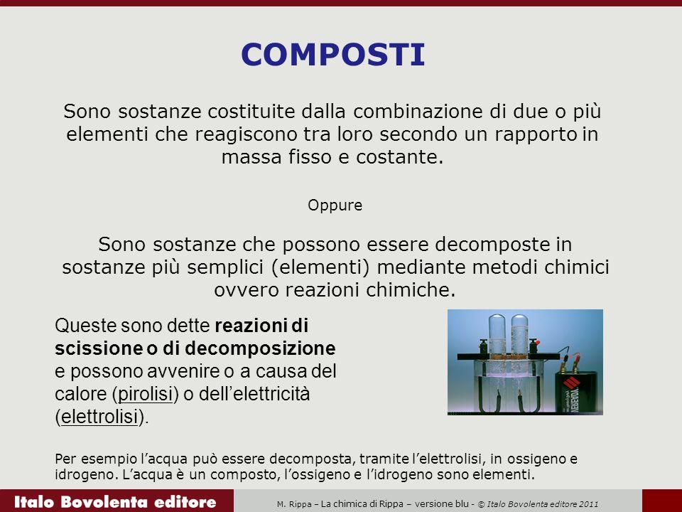 COMPOSTI Sono sostanze costituite dalla combinazione di due o più elementi che reagiscono tra loro secondo un rapporto in massa fisso e costante.