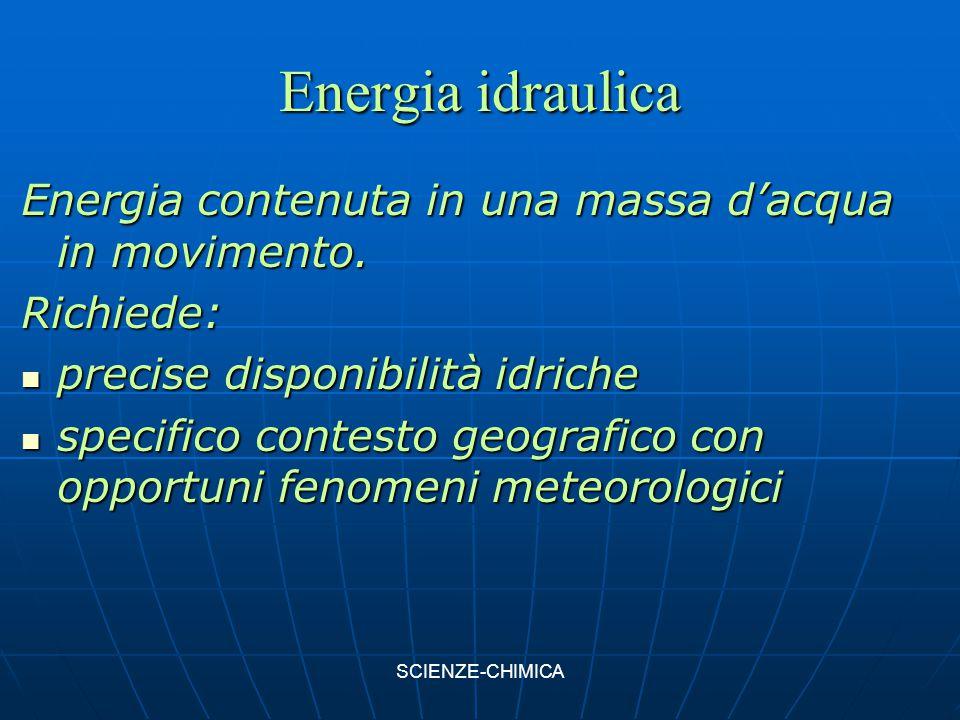 Energia idraulica Energia contenuta in una massa d'acqua in movimento.