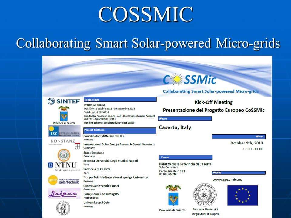 COSSMIC Collaborating Smart Solar-powered Micro-grids