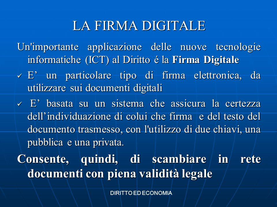 LA FIRMA DIGITALE Un importante applicazione delle nuove tecnologie informatiche (ICT) al Diritto é la Firma Digitale.