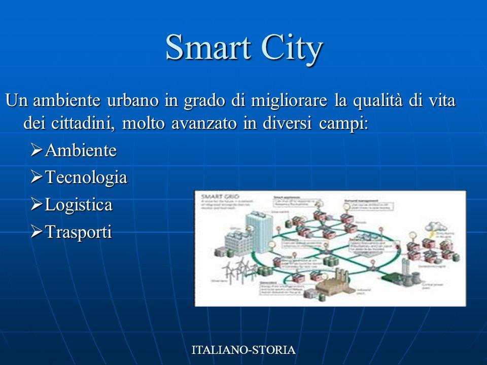 Smart City Un ambiente urbano in grado di migliorare la qualità di vita dei cittadini, molto avanzato in diversi campi: