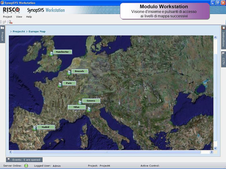 Modulo Workstation Visione d'insieme e pulsanti di accesso