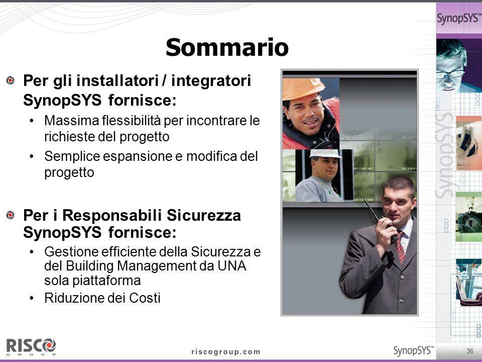 Sommario Per gli installatori / integratori SynopSYS fornisce: