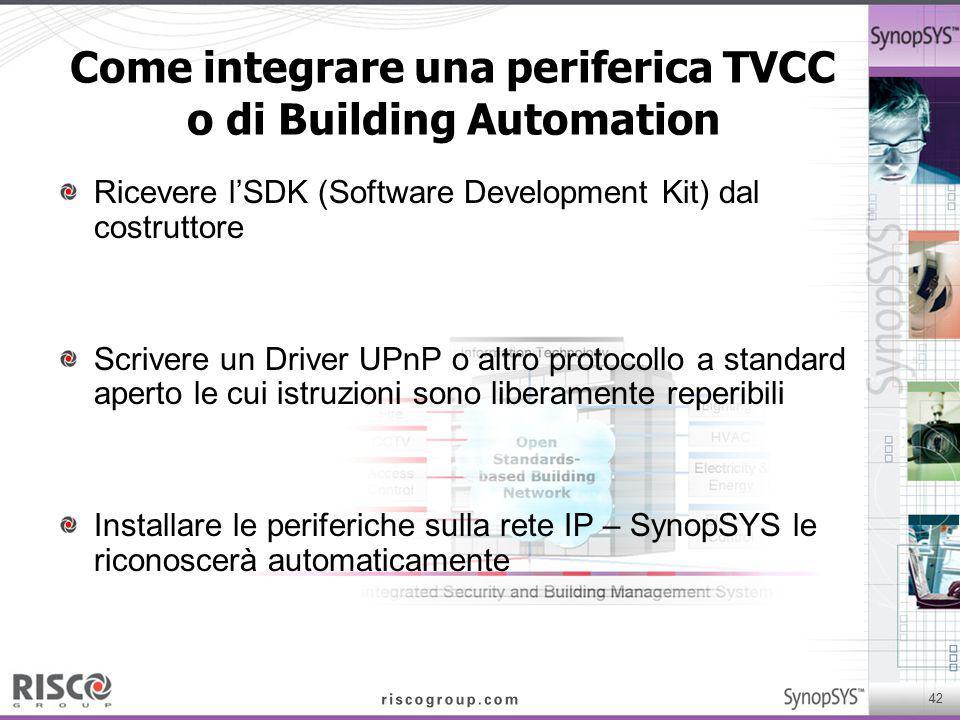 Come integrare una periferica TVCC o di Building Automation
