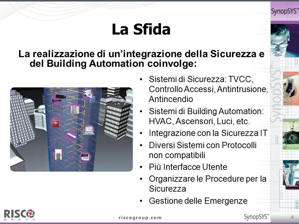 La Sfida La realizzazione di un'integrazione della Sicurezza e del Building Automation coinvolge: