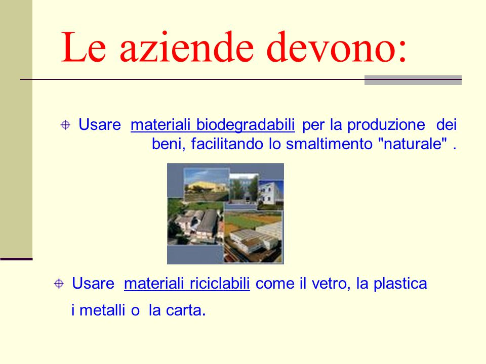 Le aziende devono: Usare materiali biodegradabili per la produzione dei beni, facilitando lo smaltimento naturale .
