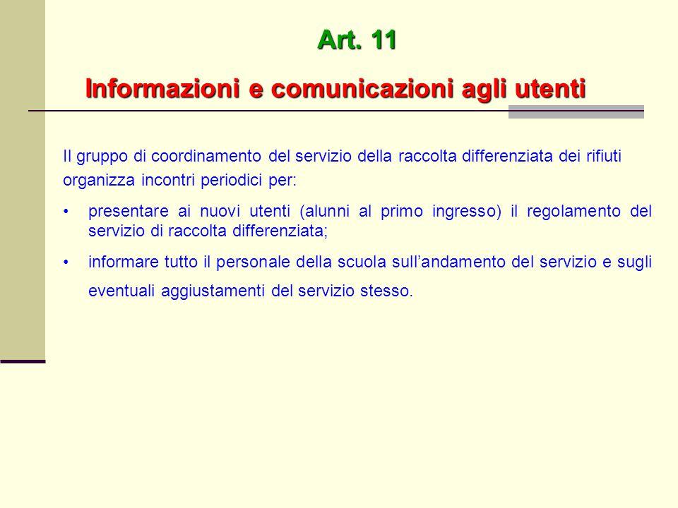 Informazioni e comunicazioni agli utenti