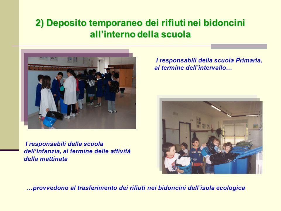 2) Deposito temporaneo dei rifiuti nei bidoncini all'interno della scuola