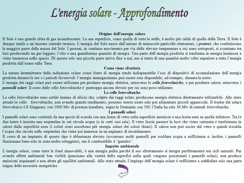 Origine dell'energia solare Le celle fotovoltaiche