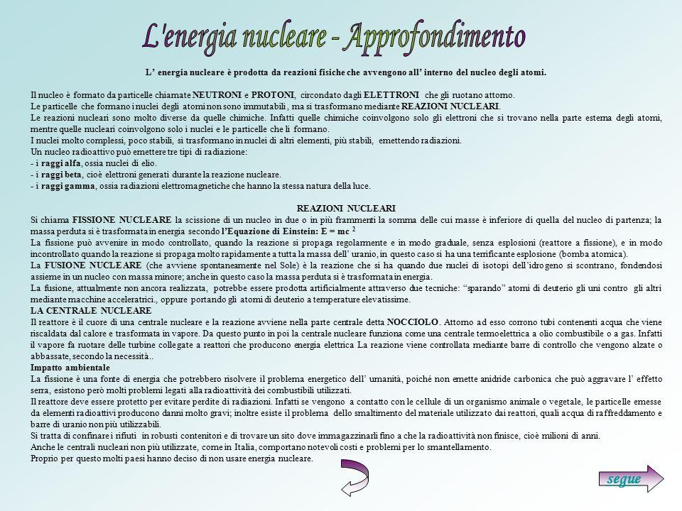 L energia nucleare - Approfondimento