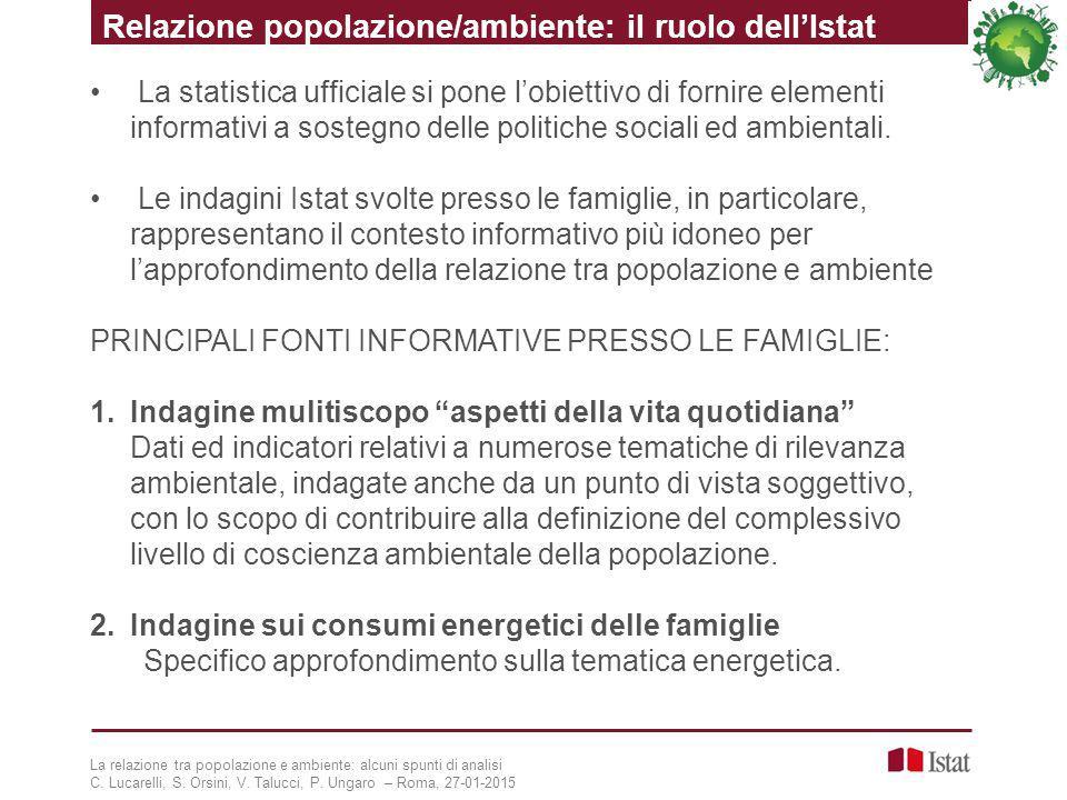 Relazione popolazione/ambiente: il ruolo dell'Istat
