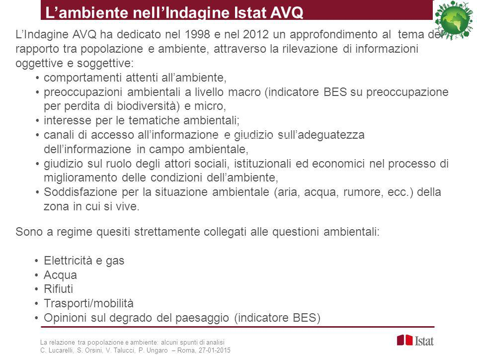 L'ambiente nell'Indagine Istat AVQ