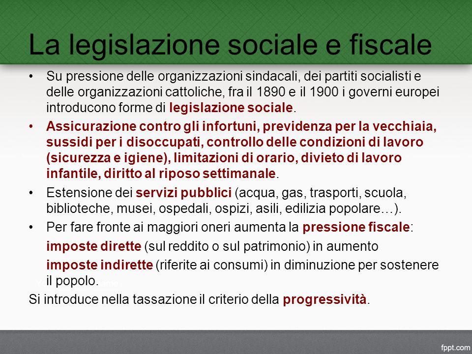 La legislazione sociale e fiscale