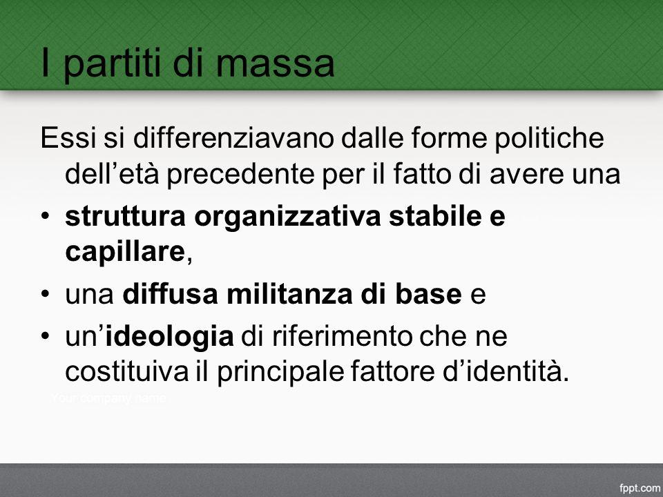 I partiti di massa Essi si differenziavano dalle forme politiche dell'età precedente per il fatto di avere una.