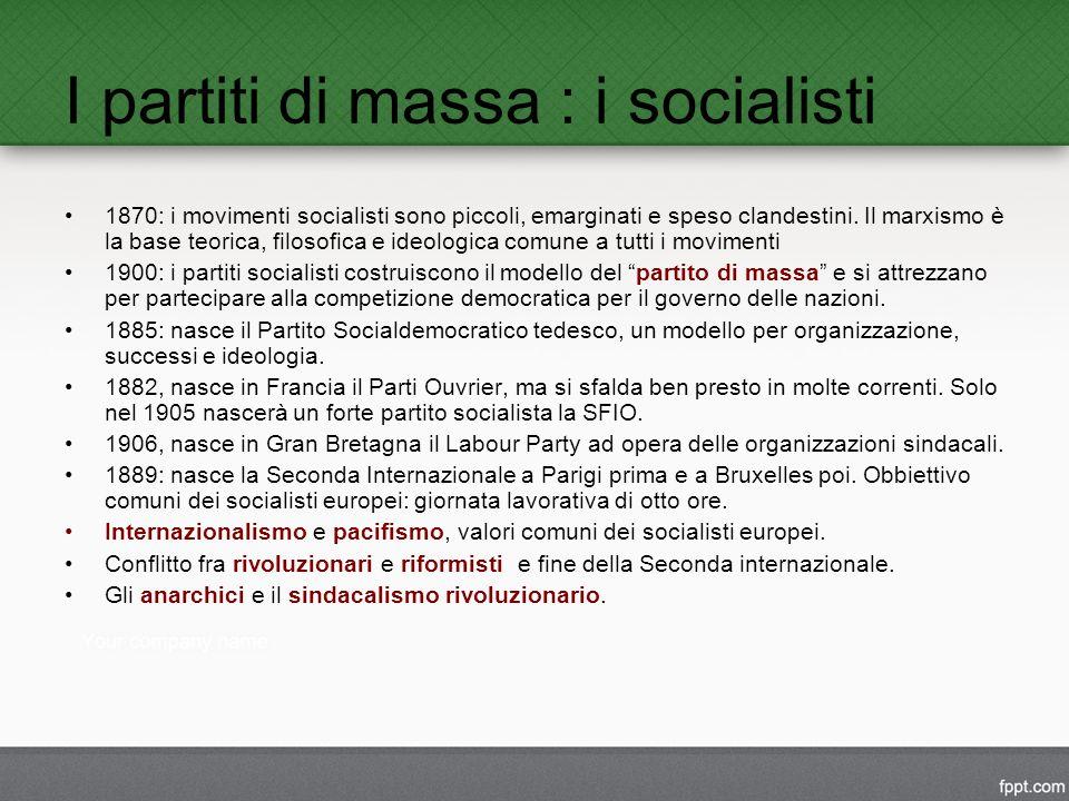 I partiti di massa : i socialisti