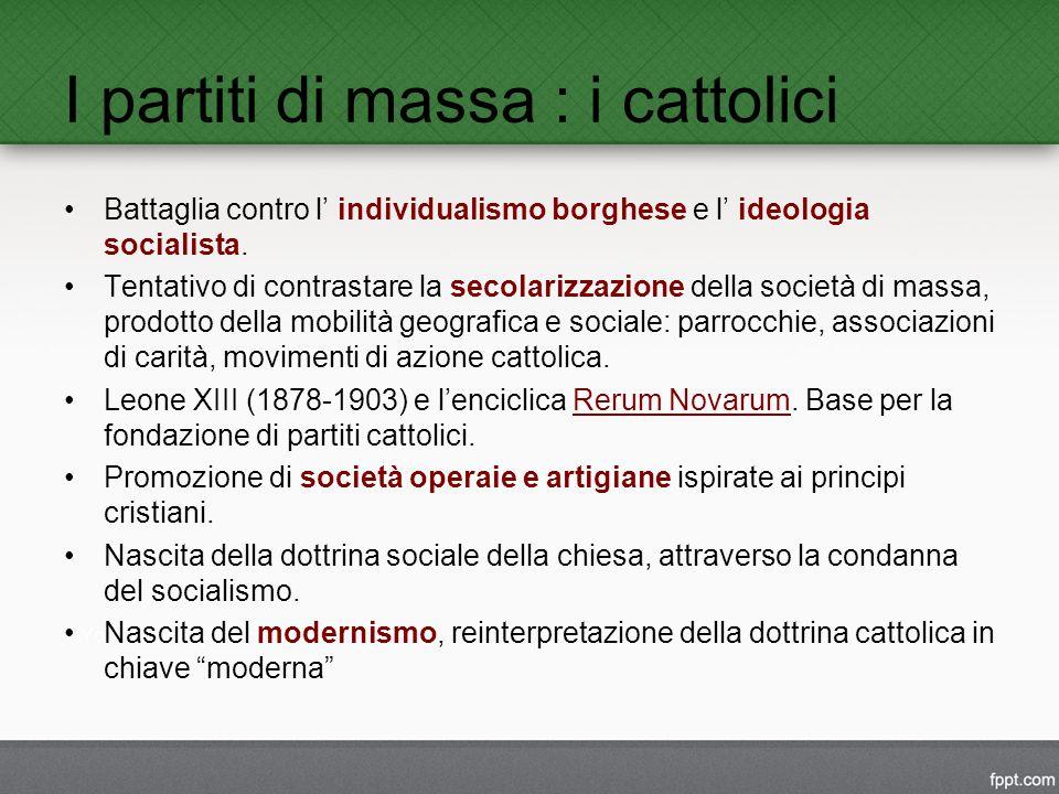 I partiti di massa : i cattolici