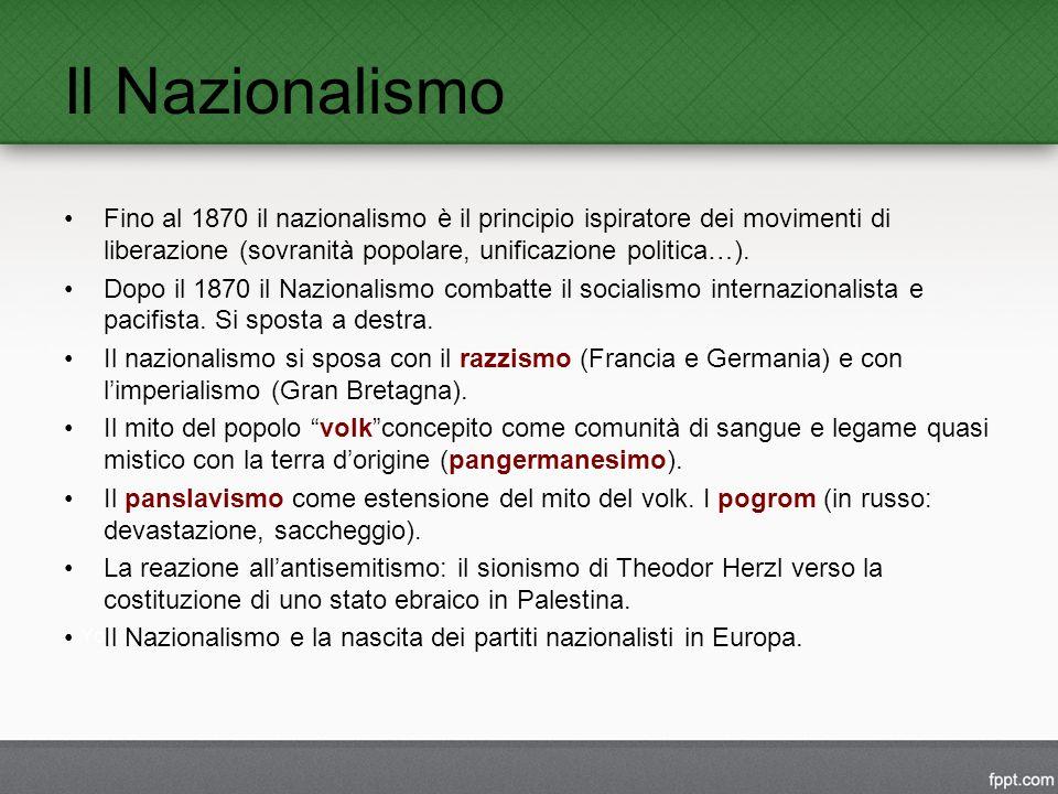 Il Nazionalismo Fino al 1870 il nazionalismo è il principio ispiratore dei movimenti di liberazione (sovranità popolare, unificazione politica…).