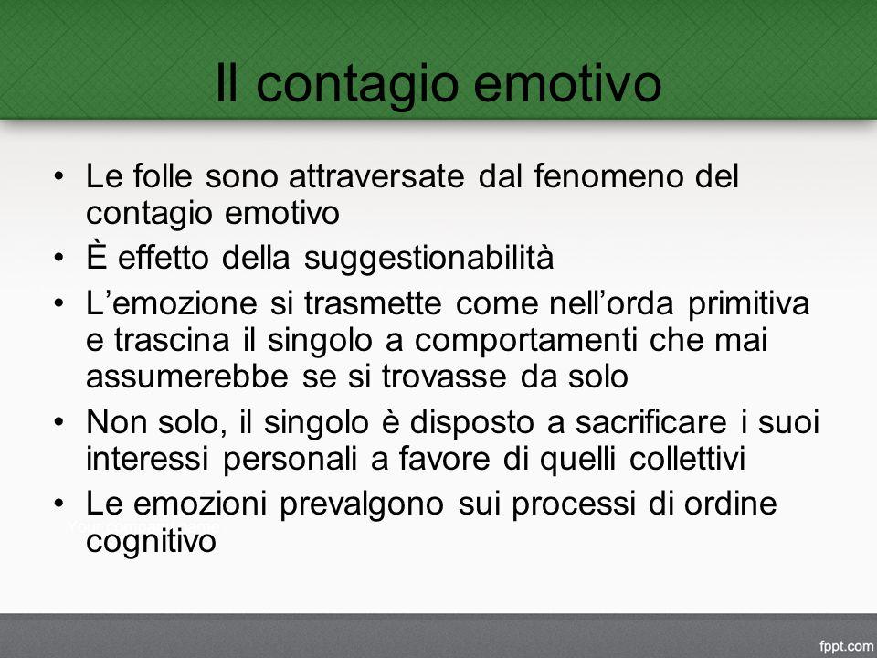 Il contagio emotivo Le folle sono attraversate dal fenomeno del contagio emotivo. È effetto della suggestionabilità.