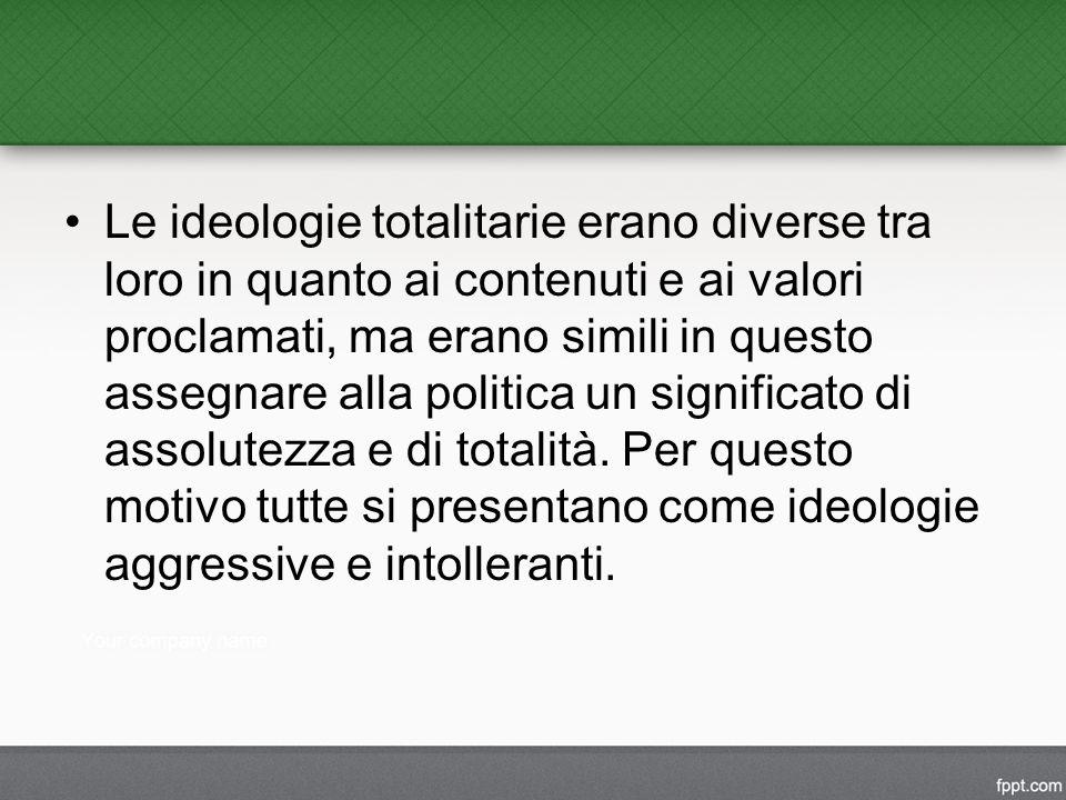Le ideologie totalitarie erano diverse tra loro in quanto ai contenuti e ai valori proclamati, ma erano simili in questo assegnare alla politica un significato di assolutezza e di totalità.