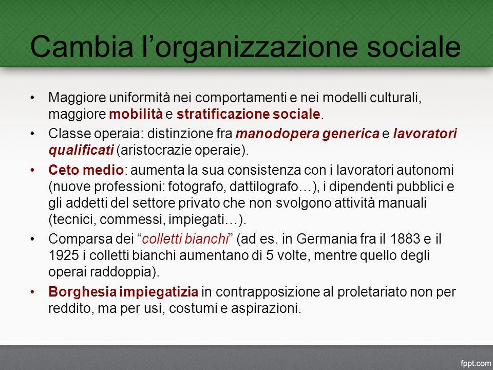 Cambia l'organizzazione sociale