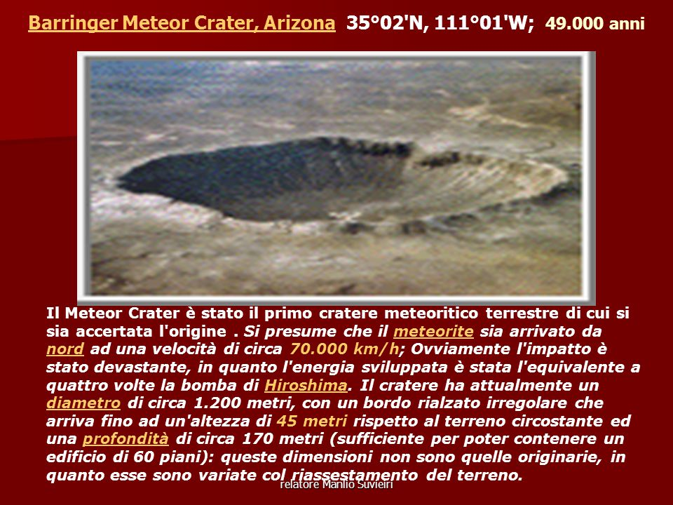 Barringer Meteor Crater, Arizona 35°02 N, 111°01 W; 49.000 anni