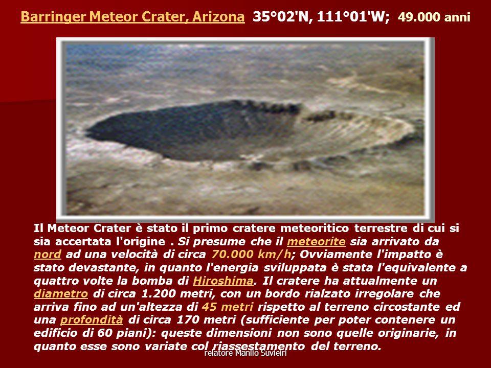 Barringer Meteor Crater, Arizona 35°02 N, 111°01 W; 49.000 anni
