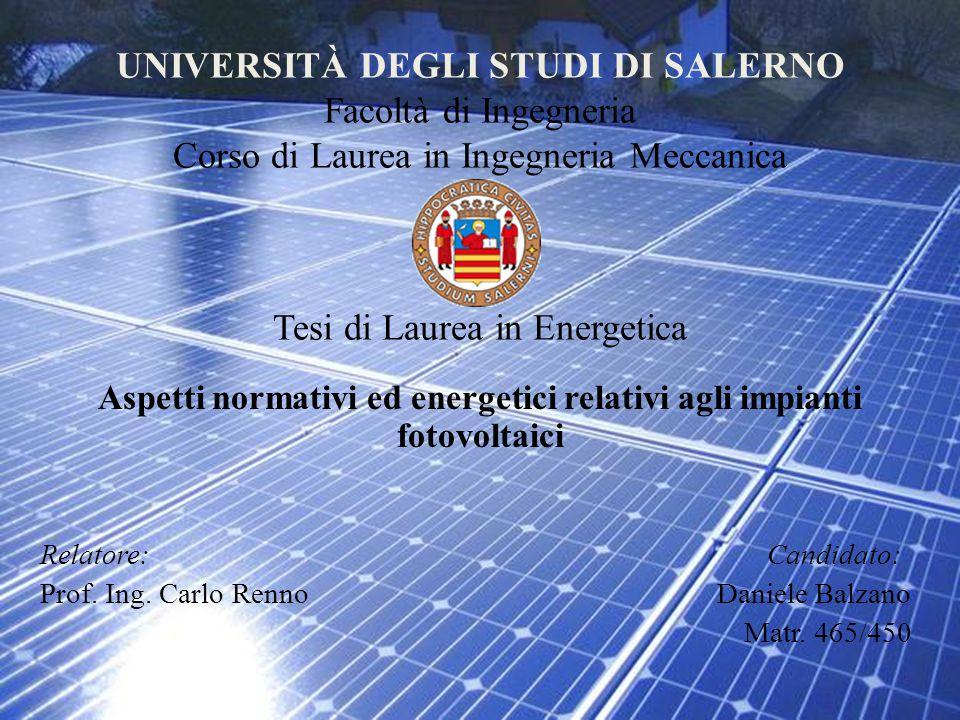 Aspetti normativi ed energetici relativi agli impianti fotovoltaici