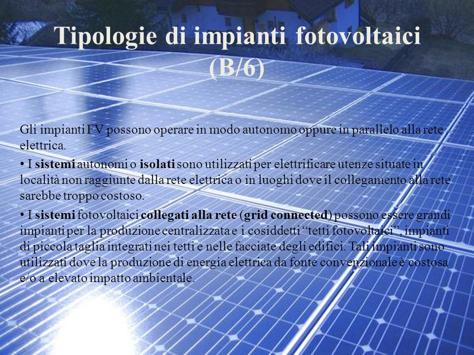 Tipologie di impianti fotovoltaici (B/6)