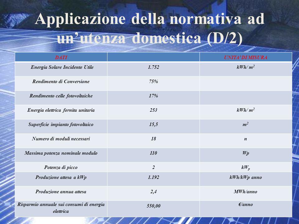 Applicazione della normativa ad un'utenza domestica (D/2)