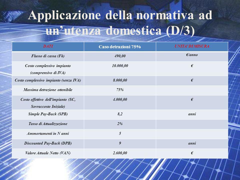 Applicazione della normativa ad un'utenza domestica (D/3)