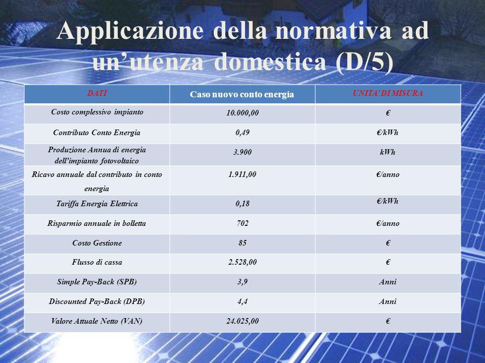 Applicazione della normativa ad un'utenza domestica (D/5)