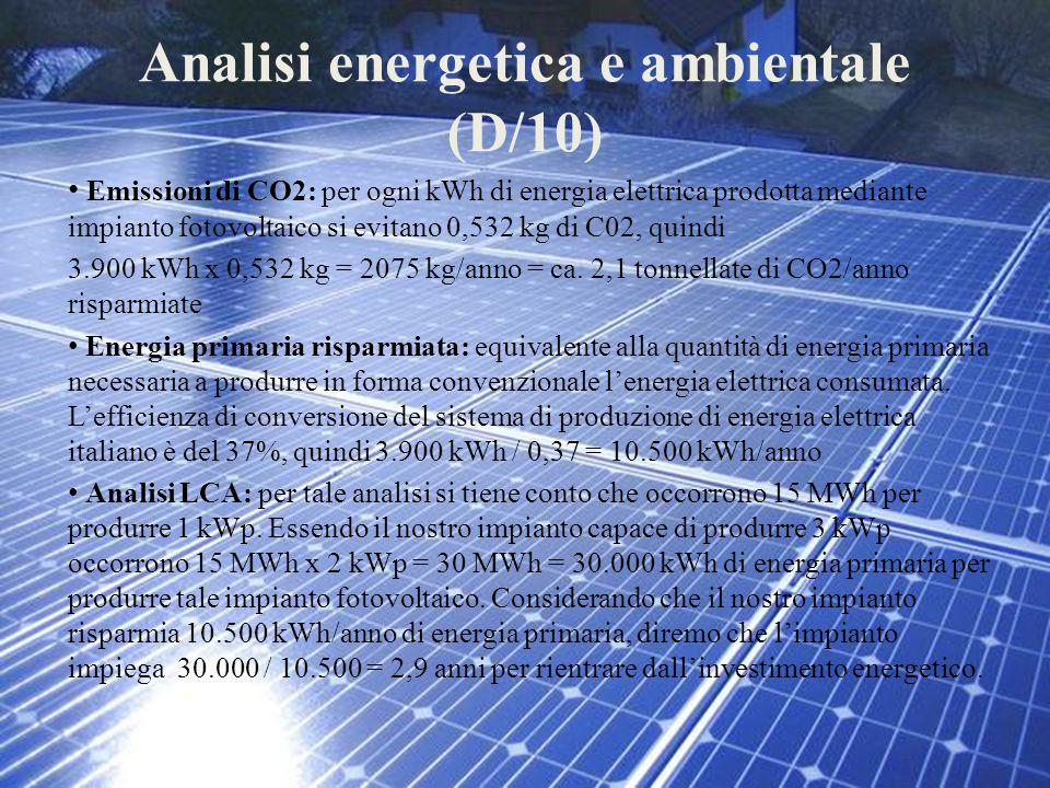 Analisi energetica e ambientale (D/10)