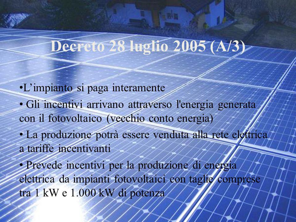 Decreto 28 luglio 2005 (A/3) L'impianto si paga interamente