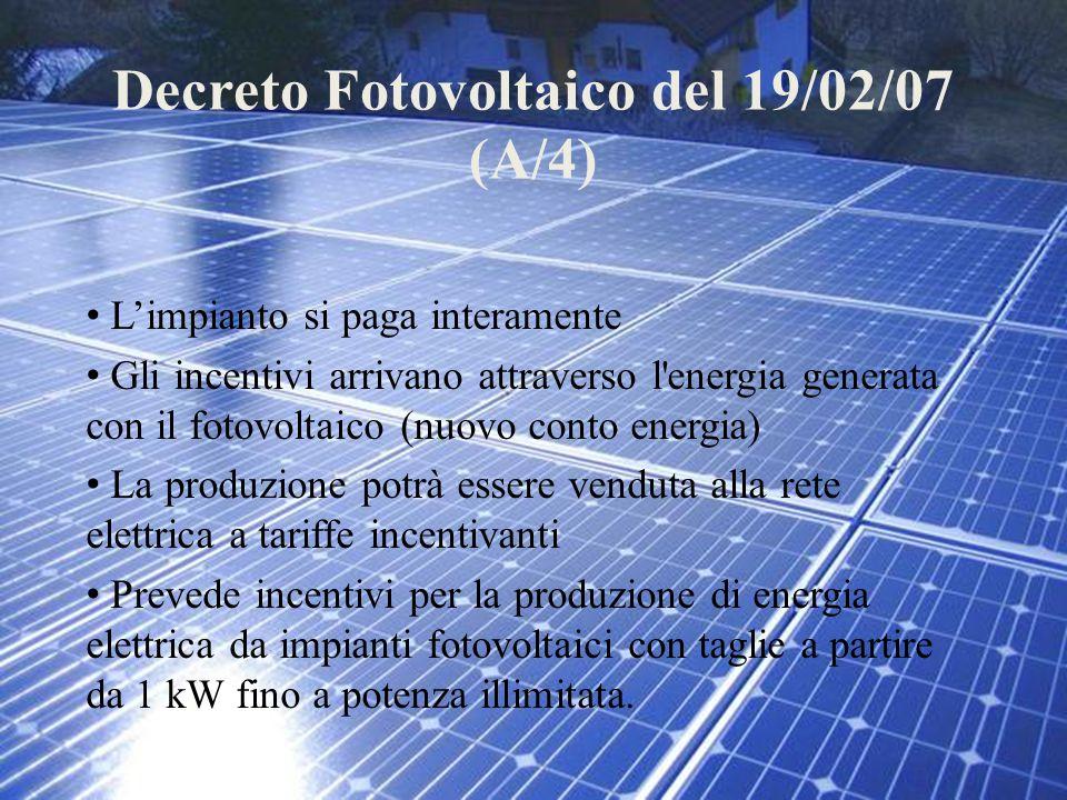 Decreto Fotovoltaico del 19/02/07 (A/4)