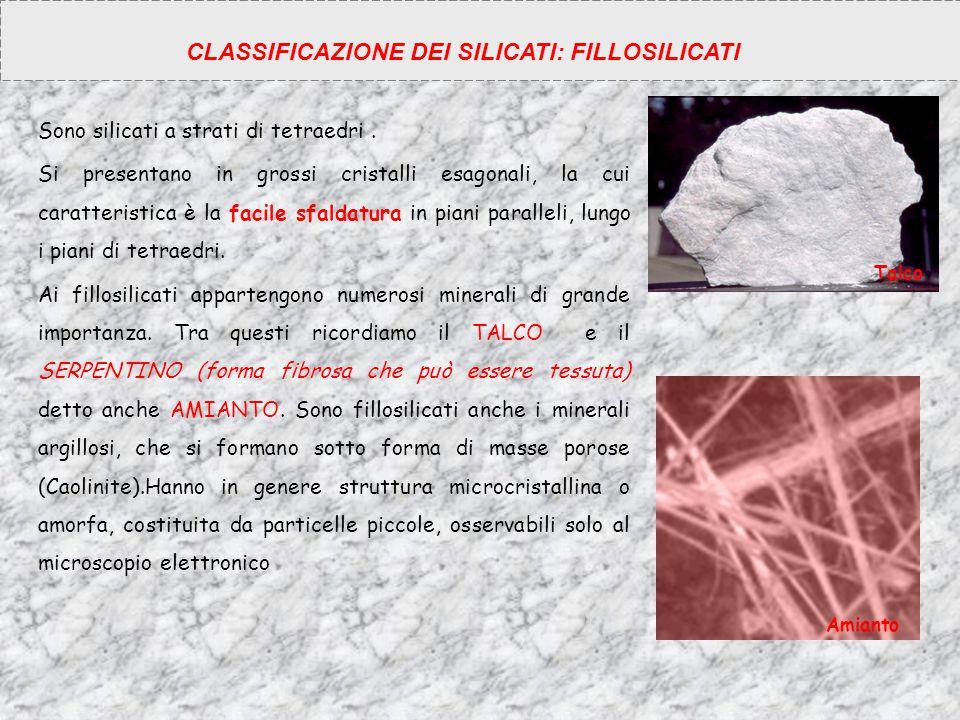 CLASSIFICAZIONE DEI SILICATI: FILLOSILICATI