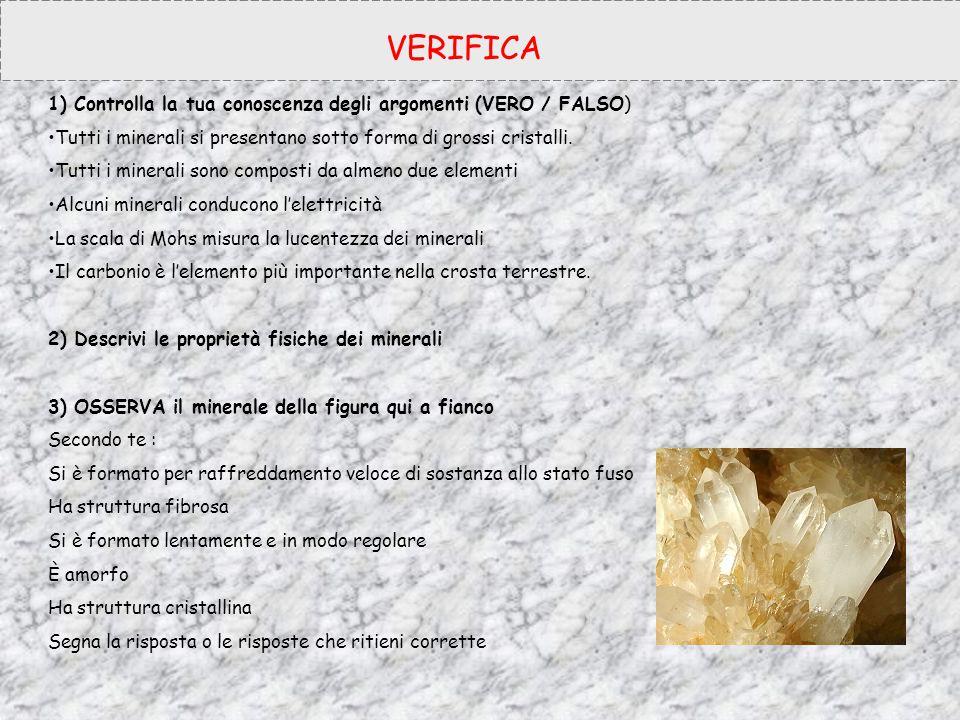 VERIFICA 1) Controlla la tua conoscenza degli argomenti (VERO / FALSO)