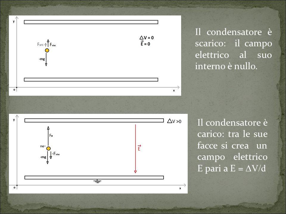 Il condensatore è scarico: il campo elettrico al suo interno è nullo.