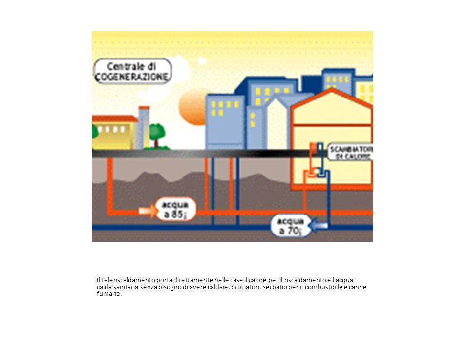 Il teleriscaldamento porta direttamente nelle case il calore per il riscaldamento e l acqua calda sanitaria senza bisogno di avere caldaie, bruciatori, serbatoi per il combustibile e canne fumarie.