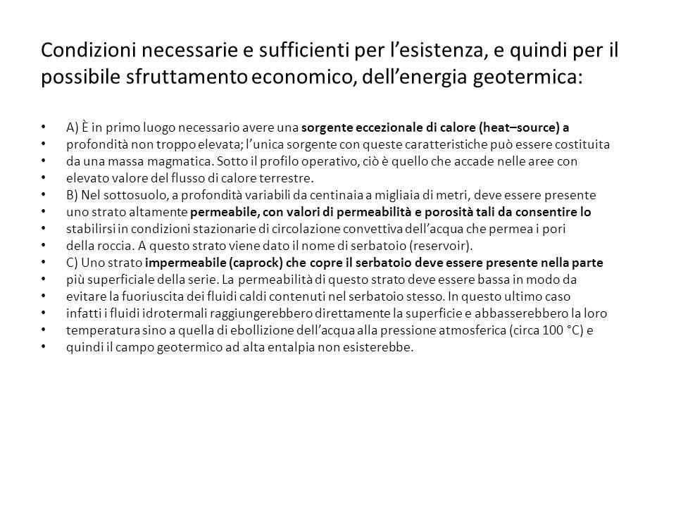 Condizioni necessarie e sufficienti per l'esistenza, e quindi per il possibile sfruttamento economico, dell'energia geotermica: