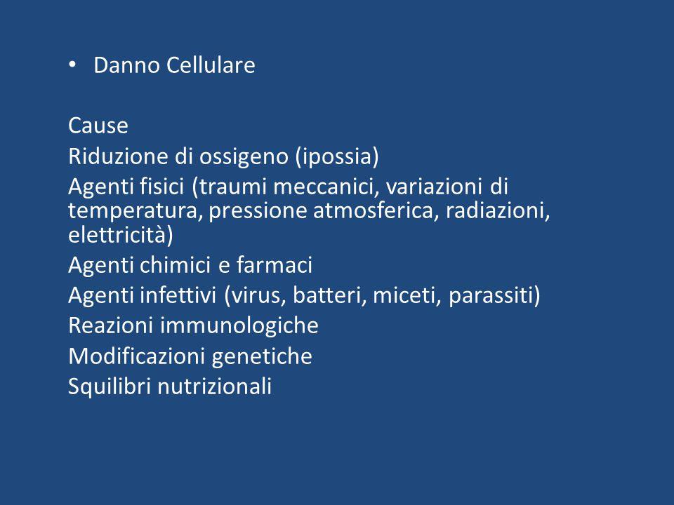 Danno Cellulare Cause. Riduzione di ossigeno (ipossia)
