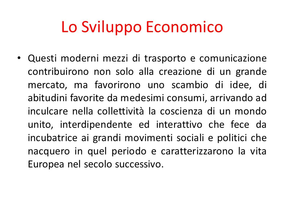 Lo Sviluppo Economico