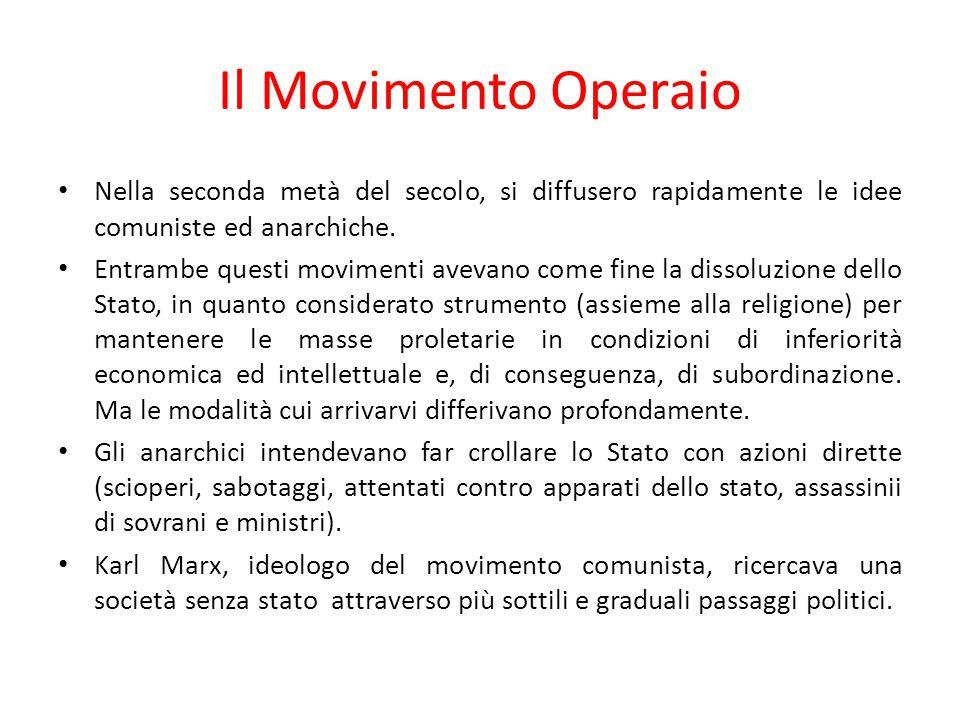 Il Movimento Operaio Nella seconda metà del secolo, si diffusero rapidamente le idee comuniste ed anarchiche.