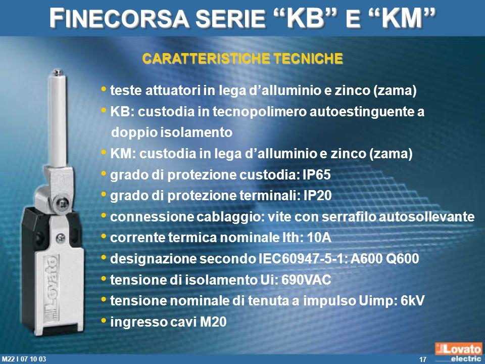 FINECORSA SERIE KB E KM CARATTERISTICHE TECNICHE