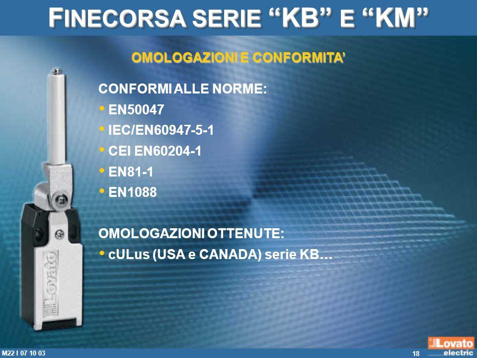 FINECORSA SERIE KB E KM OMOLOGAZIONI E CONFORMITA'