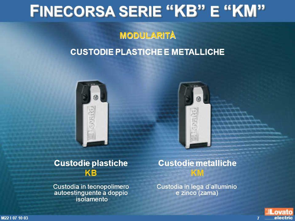 FINECORSA SERIE KB E KM CUSTODIE PLASTICHE E METALLICHE