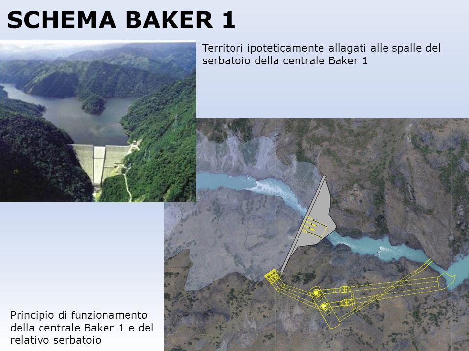 SCHEMA BAKER 1 Territori ipoteticamente allagati alle spalle del serbatoio della centrale Baker 1.