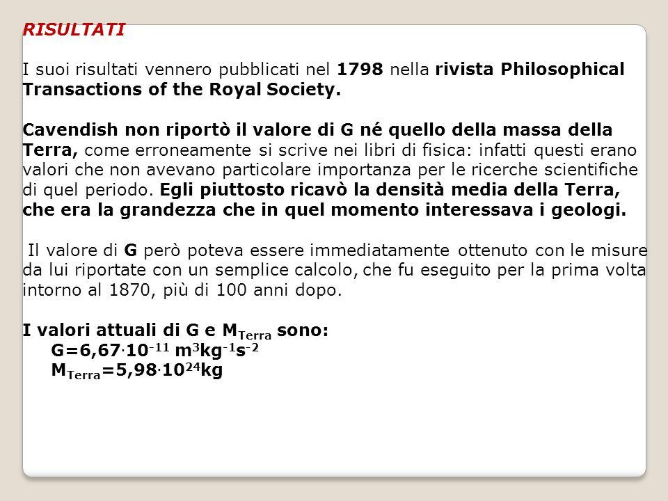RISULTATI I suoi risultati vennero pubblicati nel 1798 nella rivista Philosophical Transactions of the Royal Society.